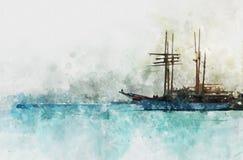 Aquarellart und abstraktes Bild des Seekonzeptes mit altem Lizenzfreies Stockbild