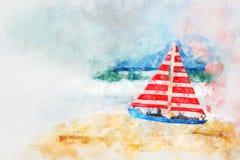Aquarellart und abstraktes Bild des Seekonzeptes mit altem Lizenzfreie Stockfotos