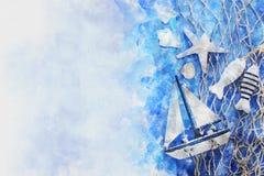 Aquarellart und abstraktes Bild des Seekonzeptes mit altem Boot Lizenzfreies Stockfoto