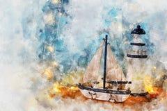 Aquarellart und abstraktes Bild des Seekonzeptes mit altem Boot Lizenzfreie Stockfotografie