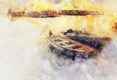 Aquarellart und abstraktes Bild des Seekonzeptes mit altem Boot Lizenzfreie Stockfotos