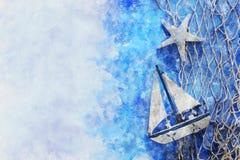 Aquarellart und abstraktes Bild des Seekonzeptes mit altem Boot Stockbilder