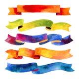Aquarellbänder und -fahnen für Text Sammlung Aquarellgestaltungselemente, Hintergründe, Aufkleber, Blase, Band mit Shad Stockfotos