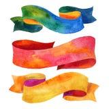 Aquarellbänder und -fahnen für Text Sammlung Aquarellgestaltungselemente, Hintergründe, Aufkleber, Blase, Band mit Shad Lizenzfreie Stockbilder