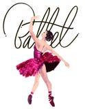 Aquarellballerina handgemalt mit Wort Ballett Tänzerillustration Stockbilder