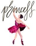 Aquarellballerina handgemalt mit Wort Prinzessin Tänzerillustration Stockfoto