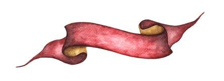 Aquarellband Hand gezeichnete Streifen oder Fahnen für Text Lokalisierte Gegenstände des Aquarells Gestaltungselemente Lizenzfreie Stockbilder