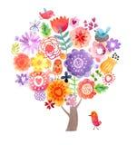 Aquarellbaum mit Blumen und Vögeln Stockbild