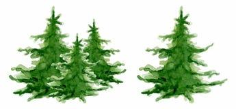 Aquarellbaumsammlung guten Rutsch ins Neue Jahr-Karte der frohen Weihnachten, Plakate Vektorillustration stockbilder