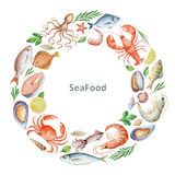Aquarellbegriffsillustration von Meeresfrüchten und von Gewürzen Stockbild
