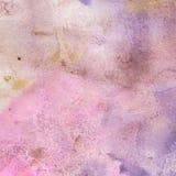 Aquarellbeschaffenheit des transparenten Purpurs, Flieder, Rosa, ockerhaltig, grau Abbildung Abstrakter Hintergrund des Aquarells Lizenzfreie Stockfotos