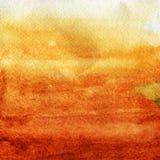 Aquarellbeschaffenheit einer transparenten orange, braunen Farbe Abbildung Abstrakter Hintergrund des Aquarells, Stellen, Unschär Lizenzfreies Stockfoto