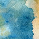 Aquarellbeschaffenheit von transparentem Blauem, orange, gelb, grau Abbildung Abstrakter Hintergrund des Aquarells, Stellen, Unsc Lizenzfreie Stockfotos