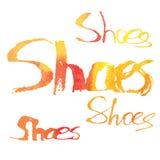 Aquarellbeschriftung Schuhe Stockfotos