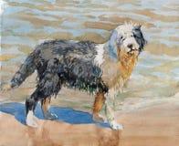 Aquarellbild des schwarzen weißen Hundes, der Sand auf dem Strand spielt Aquarellkonzept Tierkonzept Streichelt Konzept Stockfoto