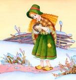Aquarellbild Mittelalterliches armes Mädchen auf Winterfeld Stockbilder