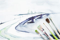 Aquarellbild von Meer mit Malerpinselebenenlage Lizenzfreie Stockfotografie