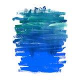 Aquarellblau- und -Türkisabstrakte Marinebeschaffenheit Acryl- oder Ölfarbepinselstriche und -streifen lizenzfreie abbildung