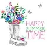 Aquarellblumen und Gartengummistiefel Stockbilder