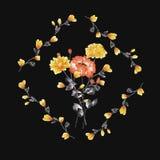 Aquarellblumendekoration Blumenstrauß der gelben und roten Rose im Rahmen von gelben Niederlassungen auf dem schwarzen Hintergrun Stockfotos