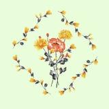 Aquarellblumendekoration Blumenstrauß der gelben und roten Rose im Rahmen von gelben Niederlassungen auf einem hellgrünen Hinterg Lizenzfreie Stockbilder