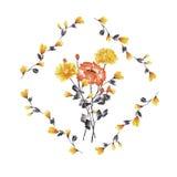 Aquarellblumendekoration Blumenstrauß der gelben und roten Rose im Rahmen von gelben Niederlassungen auf einem weißen Hintergrund Stockfotografie