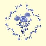 Aquarellblumendekoration Blumenstrauß von blauen Blumen im Rahmen des Blaus verzweigt sich ein gelber Hintergrund Lizenzfreie Stockfotografie
