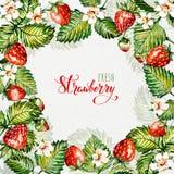 Aquarellblumenhintergrund mit Erdbeeren ENV-Datei ist vorhanden Feld mit Aquarellerdbeeren Lizenzfreie Stockfotografie