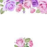 Aquarellblumenkarte mit Rosen und lisianthus Stockbild