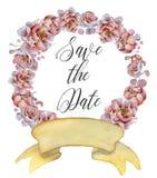 Aquarellblumenkränze mit Band für Ihren Text Abbildung kann für verschiedene Zwecke benutzt werden Eleganz romantisches Innersymb Lizenzfreie Stockbilder