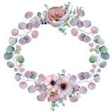 Aquarellblumenkränze mit Band für Ihren Text Abbildung kann für verschiedene Zwecke benutzt werden Eleganz romantisches Innersymb Lizenzfreie Stockfotos