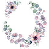 Aquarellblumenkränze mit Band für Ihren Text Abbildung kann für verschiedene Zwecke benutzt werden Eleganz romantisches Innersymb Stockbilder