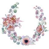 Aquarellblumenkränze mit Band für Ihren Text Abbildung kann für verschiedene Zwecke benutzt werden Eleganz romantisches Innersymb Stockfotos