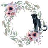 Aquarellblumenkränze mit schwarzem Panther Lizenzfreie Stockfotografie