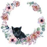 Aquarellblumenkränze mit schwarzem Panther Stockfotografie