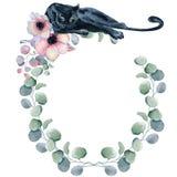Aquarellblumenkränze mit schwarzem Panther Stockfotos