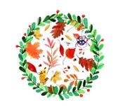 Aquarellblumenkranz Stockfoto