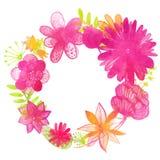Aquarellblumenkranz mit rosafarbenen Blumen und Lizenzfreies Stockfoto