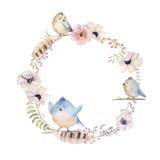 Aquarellblumenkranz Natürlicher Rahmen des Watercolour: Blätter, fea Stockfotografie