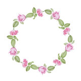 Aquarellblumenkranz von Rosen Stockfotos