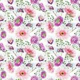 Aquarellblumenmuster Stockfotografie