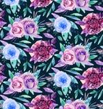 Aquarellblumenmuster Boho blüht Blumenstrauß Lizenzfreie Stockbilder