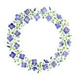 Aquarellblumenrahmen Blaue kleine Blumen Lizenzfreie Stockfotografie