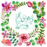 Aquarellblumenrahmen für Heiratseinladungsdesign vektor abbildung