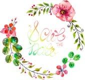 Aquarellblumenrahmen für Heiratseinladungsdesign lizenzfreie abbildung