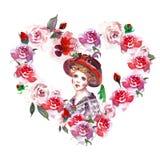 Aquarellblumenrahmengrenze mit Schönheitsporträt in der Weinleseart Handgezogene Illustration des Herzkranzes mit rotem ro lizenzfreie abbildung