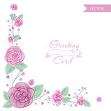 Aquarellblumenrosen-Grußkarte Stockfotos