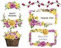 Aquarellblumensträuße von Blumen färben sich gelb und Rosakranzrahmensatz lizenzfreie abbildung