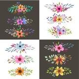 Aquarellblumenstrauß mit Blättern und Blumen Heirat, romantische Sammlung Stockfotografie