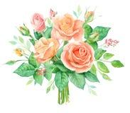 Aquarellblumenstrauß von Blumen Handgemalte Blumenzusammensetzung lokalisiert auf weißem Hintergrund Abbildung der roten Lilie Stockbild